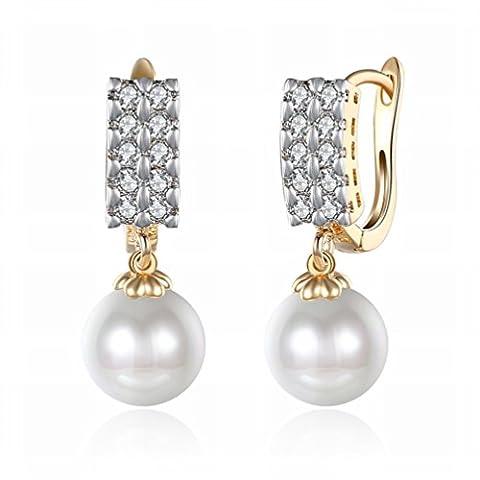 Kleine Exquisite K Gold Zirkon Ohrringe Zweireihige Diamant Perle Romantische Ohrringe Weiblichen Wei?en Gold / Edelstahl / Anti-allergie / Silber Blinken,Als Show