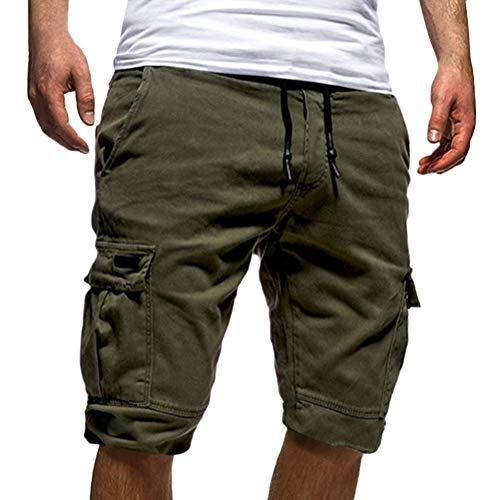 Tomwell uomo pantaloni corti bermuda cargo pantaloncini uomo cotone lavoro pantaloni tasconi con elastico pantofole estive casual pantaloncino sportivi verde xx-large
