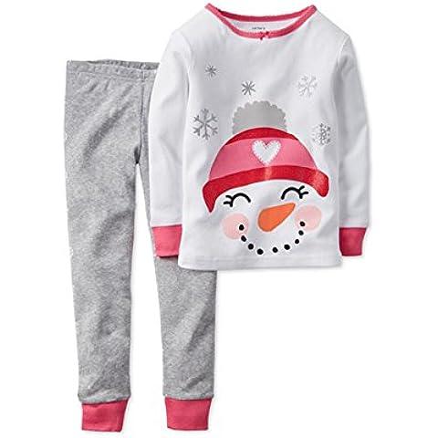 Tkria - Pijama para Niñas - Christmas Monigote de nieve - 6 Meses - 5 Años