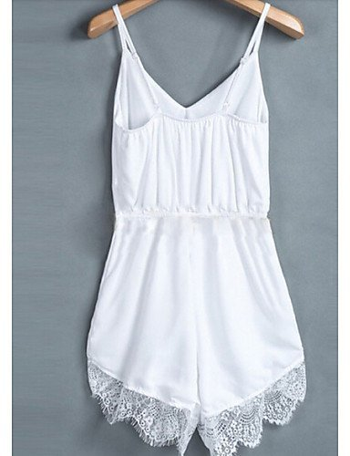GSP-Combinaisons Aux femmes Sans Manches Sexy Mélanges de Coton Fin Micro-élastique white-xl
