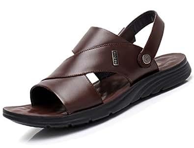 Respeedime Herren Peep-Toe, Dark Brown Sandal - Größe: 41