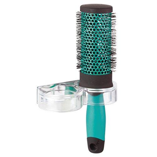 mDesign AFFIXX Badzubehör ohne Bohren – selbstklebender Bürstenhalter – clevere Badezimmer Aufbewahrung für zwei Haarbürsten – transparent/verspiegelt