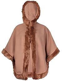 Womens Batwing Sleeve Ladies Faux Fur Trim Cape Long Poncho Hodded Jacket Cloak Coat