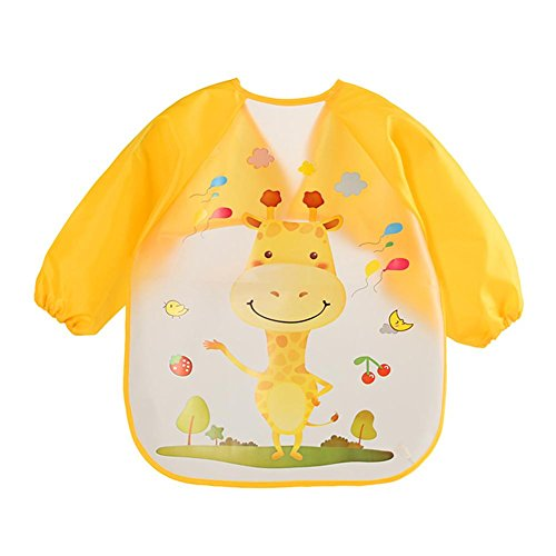 Zibuyu Cartoon Waterproof Unisex Baby Feeding Long Sleeve Art Apron Animal Bibs(F)
