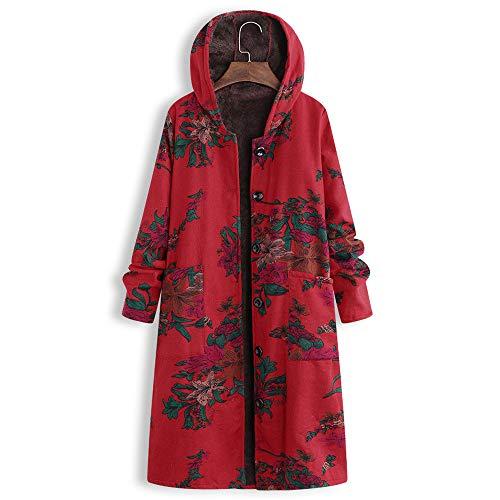 Amphia - Mit Kapuze gefütterter Damenmantel,Frauen Plus Size Button Mit Kapuze Baumwolle Leinen Flauschiger Druck Langer Mantel Outwear(Rot,XL) - Grau Wolle-button