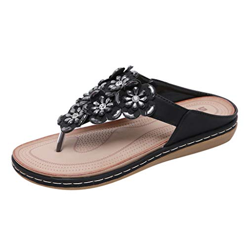 MakefortuneFrauen Sommer Böhmen Low Wedge Sandalen Post Thong Flip Flops Hausschuhe Bequeme Strand Schuhe für Mädchen Breite Passform mit Strass Perlengröße (Dansko Schuhe Mädchen)