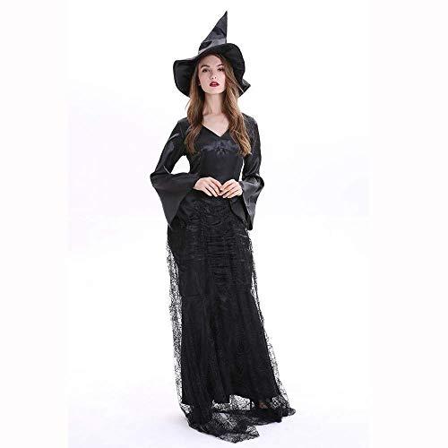 Fashion-Cos1 Vampir Teufel Cosplay Halloween Karneval Hexe Böse Kostüm Schwarz Gothic Robe Kleider Weibliche Kostüm (Size : XL)
