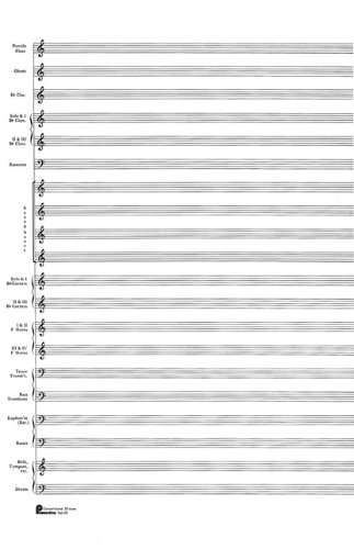 Passantino Music Papers: No. 23, 20 Stave (Concert Band) 40 Sheets Score Pad, Size 12 x 18