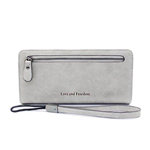 Gr8Life Damen Geldbörsen Lange Portemonnaie Grau