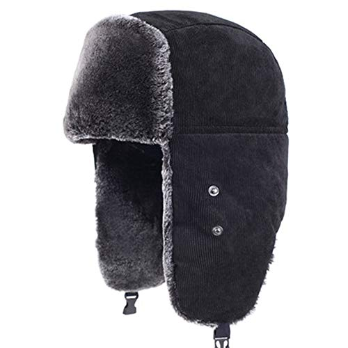 Mmyunx Outdoor Unisex Kunstpelz gefüttert Trapper Hut warme Winddichte Winter Trapper Hut w/Earflap & Atemmaske Winter Geschenk,Black,M