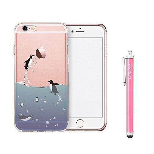 Coque iPhone 6 6s Housse étui-Case Transparent Liquid Crystal Mandala en TPU Silicone Clair,Protection Ultra Mince Premium,Coque Prime pour iPhone 6 6s-Pingouin et Ballon Flying Penguin