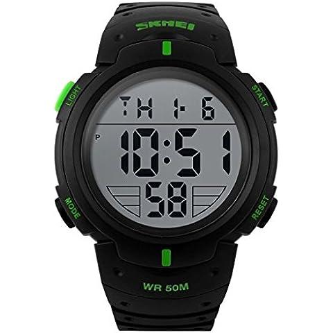 downj uomini LED orologio digitale militare 50m Dive Nuoto Casual Vestito orologi sportivi all' aperto orologi (Verde)