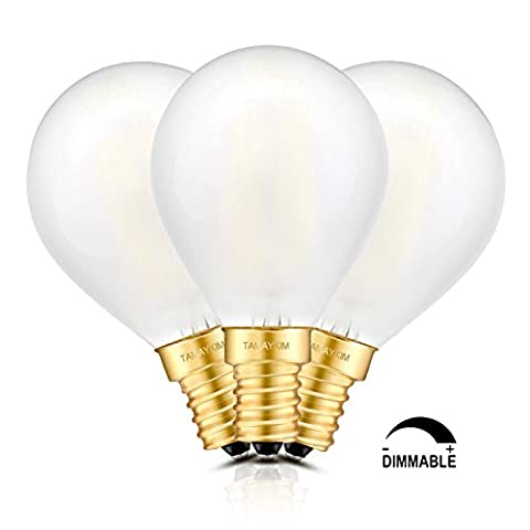 TAMAYKIM 6W Dimmable Edison Style Antique LED Filament Globe Light Bulb, 5000K Daylight (Bright White) 600LM, E14 Candelabra Base Lamp, G45 Globular Shape, 60W Incandescent Equivalent, 3 Pack