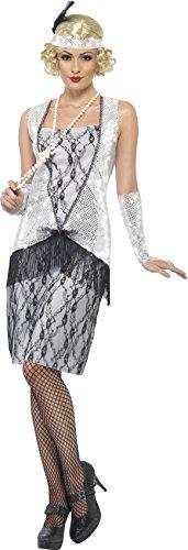20er Jahre Kostüm Kleid silber Charleston Mafia, Größe M (Ideen Mafia Kostüme)