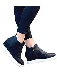 e385ed49eb9 Botines Mujer Cuña Invierno Plataforma Piel Casual Tacon Medio Zapatillas  Deportivas 4.5cm Ankle Boots Ancho