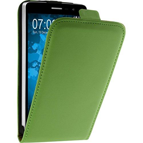 PhoneNatic Kunst-Lederhülle für LG L Bello 2 / L Bello II Flip-Case grün + 2 Schutzfolien