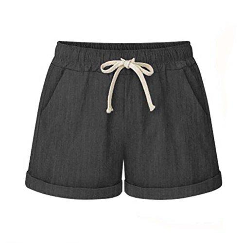 Leinen Shorts Damen Sommer Kurze Hosen Frauen Hot Pants High Waist Lose Stretch Beach Shorts Große Größen - Damen Leinen Drawstring-hose