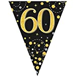 fashioncrazexx 60th Birthday Party Sparkling Bunting Black Gold 12FT 3.9m Fizz Flag Banner Age