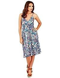 Vestido Floral de Dama Pistachio con Cruzado Frontal para el Verano