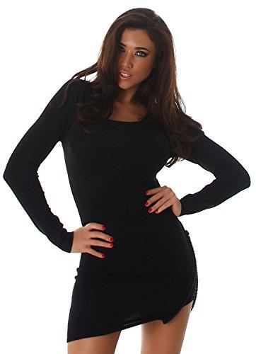 Moewy Damen Strickkleid & Pullover mit seitlichem Zierreißverschluss und Strasssteinen Einheitsgröße (34-38), schwarz