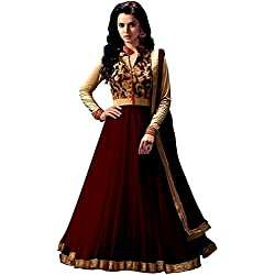 Anarkali Suit for Women Clothing Designer Party Wear Today Offers Low Price Sale Top Brown Color Banglori Silk Fabric Free Size Salwar Kameez Dress