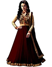 Rensila Women's Brown & Beige Color Banglori Silk & Net Fabric Anarkali Salwar Suit
