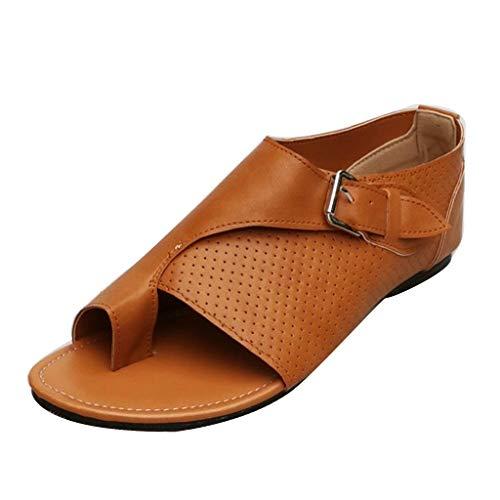 2944ea8c816 WUDUBE Chaussures pour Femmes❤Été Confortable Loisir Couleur Unie Sangle de  Boucle Sandales Plates Douces