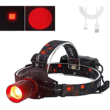 Red Light Head Torch Rechargeable 5000 Lumen Red Night