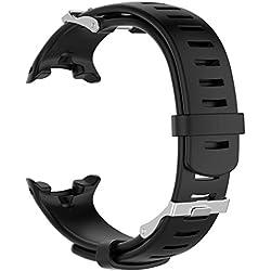 TPulling Song Erweiterung D4/D4i Novo Silikonband Neuer Weichen Natürlichen Mode Ersatz Silicagel Soft Band Strap Für Suunto D4/D4i Novo Watch Armband Handschlaufe (Schwarz)