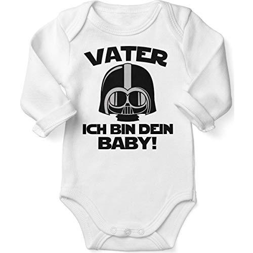 Mikalino Babybody mit Spruch für Jungen Mädchen Unisex Langarm Vater - ich Bin Dein Baby! | handbedruckt in Deutschland | Handmade with Love, Farbe:Weiss, ()
