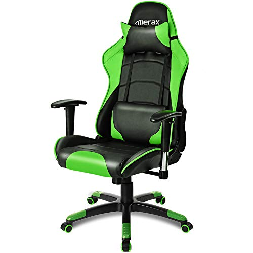 LIGHT LJ Gaming Chair Desk Chair, Leatherette Cover/Adjustable Armrests Backrest Racing Chair Four Color Selection (Black - Blue-Green-Red) Green