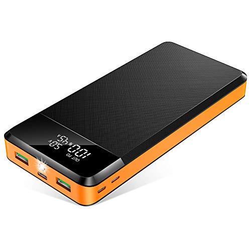 ORITO Powerbank 26800mAh 5-Port Externer Akku QC3.0& PD 18W Schnellladung, Power Bank mit LED Display LED Licht Extrem, 3 Ausgänge& 3 Eingänge USB-C Akkupack für iPhone, Samsung Huawei, iPad und mehr