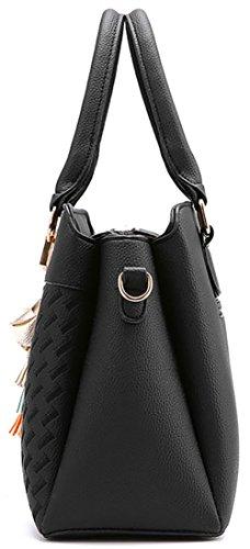 Damen Handtasche Damen Große Mode-Design Tragetaschen Damen Umhängetasche Top Griff Taschen(Rosa) Grau