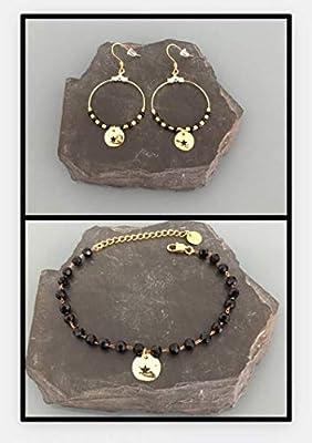 Parure de bijoux étoile doré, bracelet et créoles étoile, idée cadeau femme, bijoux cadeaux, bijou en or, créoles or, bracelet perles noires