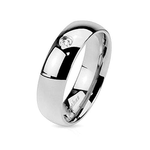 Mianova Band Ring Edelstahl poliert mit Kristall Herrenring Damenring Partnerring Verlobungsring Damen Herren Silber Breite 6 mm Größe 70 (22.3) (Biker-ringe Für Männer 925 Silber)
