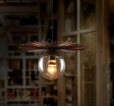 GFFORT Einfache kreative Persönlichkeit industrielle Schmiedeeisen Glas Lampe UFO magische Bohnen Kronleuchter, E27, Durchmesser 60 cm Höhe 35 cm, 220 V , A