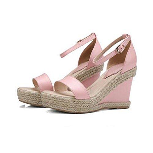 W&LMFemmina vera pelle sandali Piattaforma impermeabile Pendenza con Spessore inferiore Tacchi alti Pink