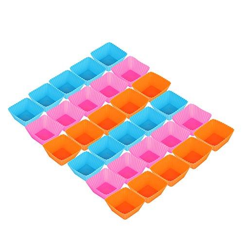 30 Stück = 1 Backblech Voll Wiederverwendbarer Eckiger Muffin-Formen Cupcake Formen In 3 Farben Aus Hochwertigem Silikon von Amathings