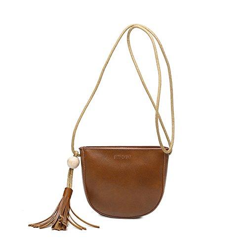 SeOST Retro Tasche PU Leder Quaste halbkreisförmiges Telefontasche Mode Damen Schulter diagonal Querpaket Portemonnaie orange
