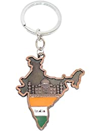 INDIA Map Metal Keychain Keyring|Double Sided With Taj Mahal Image Inside|Car Bike Keychain