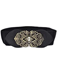 Women's Retro Flower Elastic Stretch Buckle Wide Waist Belt Waistband