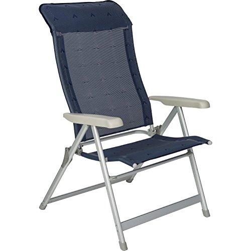 Berger Klappsessel Luxus XL, blau, Aluminium, Belastbar bis 200 kg, breite Sitzfläche 57 cm, Klappstuhl, Campingstuhl