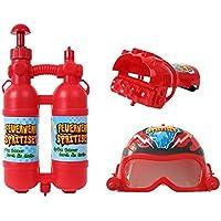 kamiustore Set Pompiere con Accessori spara Acqua - Kit Gioco Pompieri  Casco con Visiera + Guanti 133ac6be6566