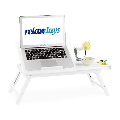 Relaxdays Bambus Laptoptisch, höhenverstellbarer Laptopständer für Bett und Sofa, mit Schublade, HBT: 24x60x35cm, weiß