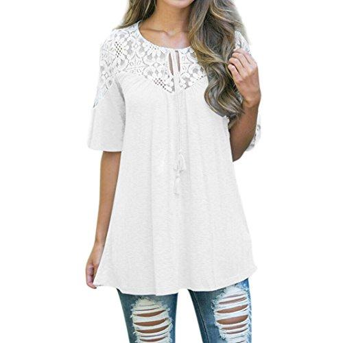MRULIC Frauen Lose Version Spitze Tops Tie Kurzarm Tops Bluse T-Shirt Frühling Freizeitkleidung (EU-46/CN-L, Weiß) (Schlitz Top Vorne-baumwolle)