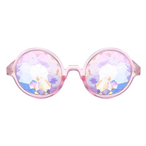 Frashing Gläser Kaleidoskop Fashion Chic Gebeugt Lustige Unisex Visuelle Erfahrung Foto Requisiten Integrierte Rave Festival Party Gläser (Rosa)