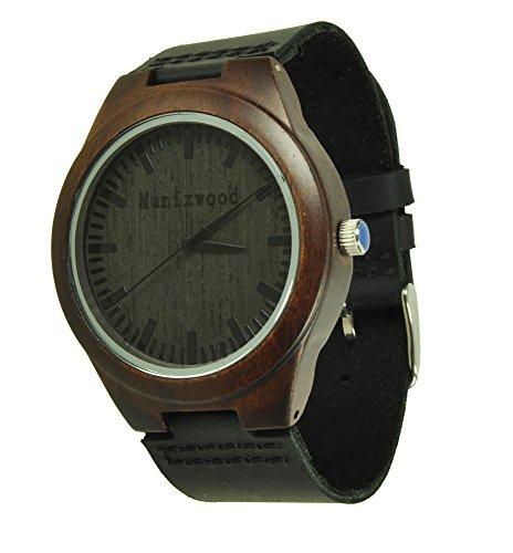 Munixwood Ebenholz Holzarmbanduhr mit Lederarmband und Uhrenbox Öko