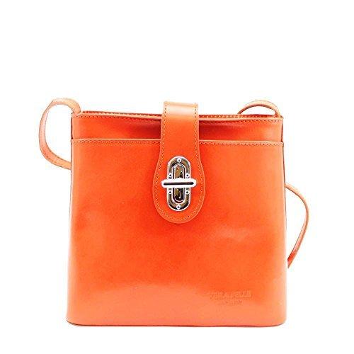 Haute für Diva's NEU Damen glänzend Echtleder Drehverschluss Detail vorne Tasche klein Umhängetasche Tasche - Rot, Small Orange