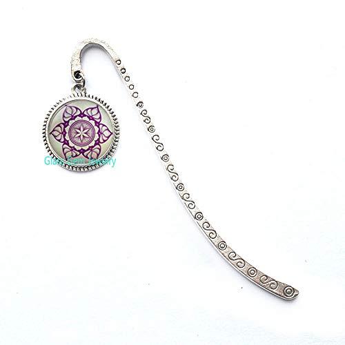 Segnalibro con mandala a fiori, geometria sacra, segnalibro spirituale, mandala buddista, segnalibro geometrico, Q0204