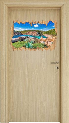 Ferienhaus an der spanischen Küste Kunst Buntstift Effekt Holzdurchbruch im 3D-Look , Wand- oder...